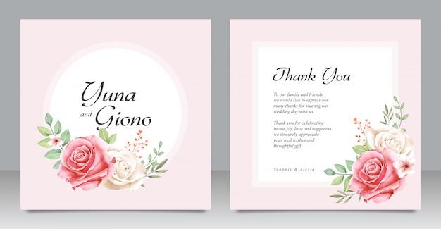 Hermosa plantilla de tarjeta de boda con diseño floral