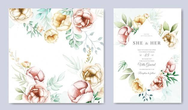 Hermosa plantilla de tarjeta de boda floral acuarela