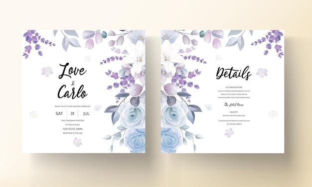 Hermosa plantilla de tarjeta de boda floral blanca