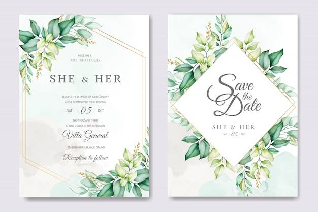 Hermosa plantilla de tarjeta de boda floral con rosas y hojas de acuarela