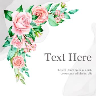 Hermosa plantilla de tarjeta de boda floral