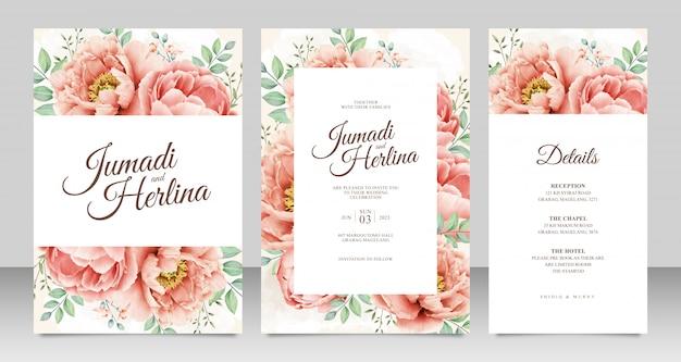 Hermosa plantilla de tarjeta de boda con hermosa peonía aquarel