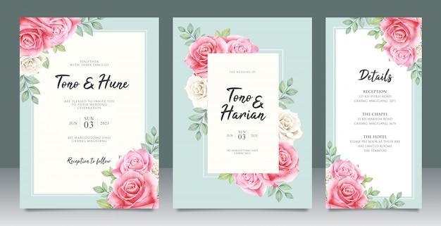 Hermosa plantilla de tarjeta de boda con hermosas flores y diseño de hojas