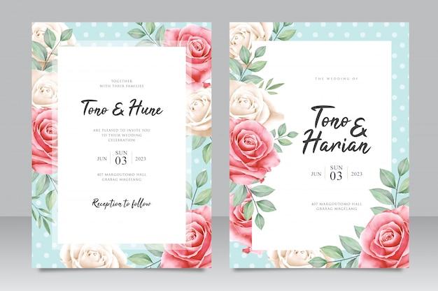 Hermosa plantilla de tarjeta de boda con hermosas flores