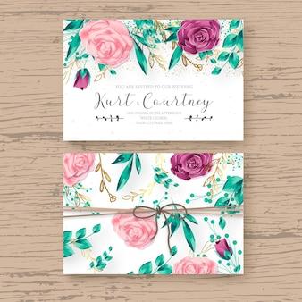 Hermosa plantilla de tarjeta de boda con marco floral realista
