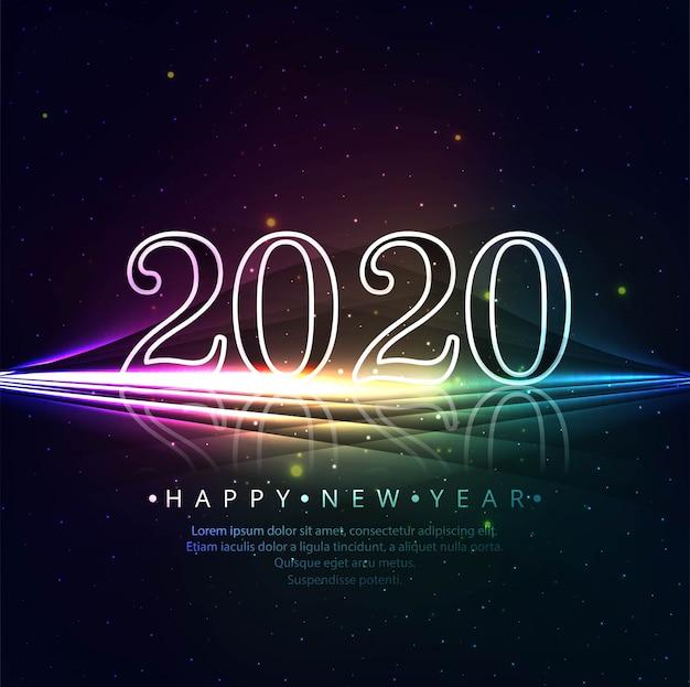 Hermosa plantilla de tarjeta de felicitación de año nuevo brillante 2020 brilla