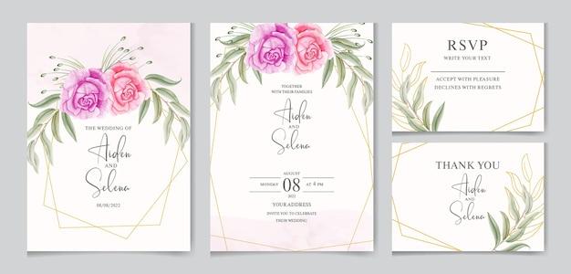 Hermosa plantilla de tarjeta de invitación de boda en acuarela con marco dorado