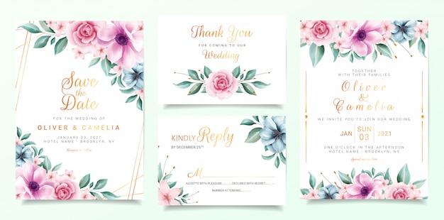 Hermosa plantilla de tarjeta de invitación de boda con borde de flores de colores y decoración de línea dorada