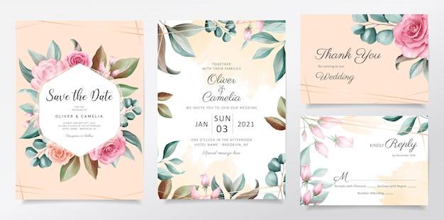 Hermosa plantilla de tarjeta de invitación de boda botánica acuarela con decoración de flores.
