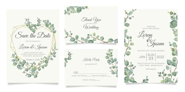 Hermosa plantilla de tarjeta de invitación de boda botánica acuarela con decoración de flores