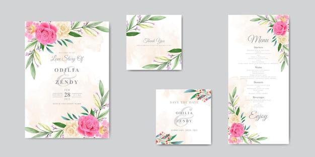Hermosa plantilla de tarjeta de invitación de boda dibujada a mano con diseño de rosa rosa