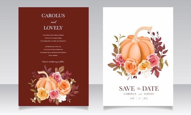 Hermosa plantilla de tarjeta de invitación de boda dibujada a mano