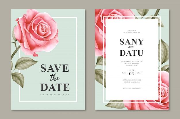 Hermosa plantilla de tarjeta de invitación de boda con diseño floral minimalista