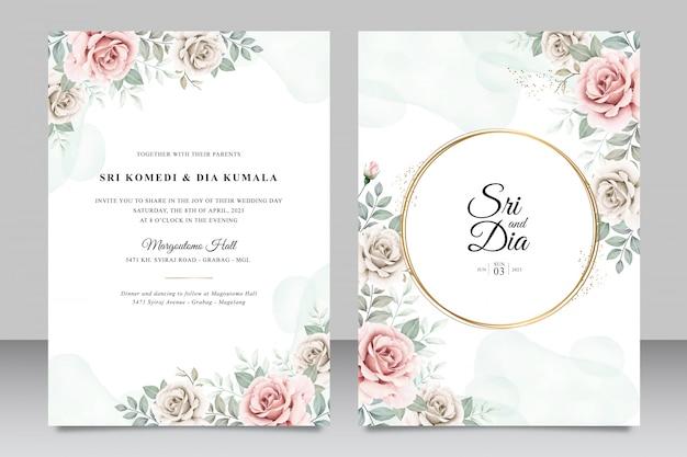 Hermosa plantilla de tarjeta de invitación de boda floral aquarel