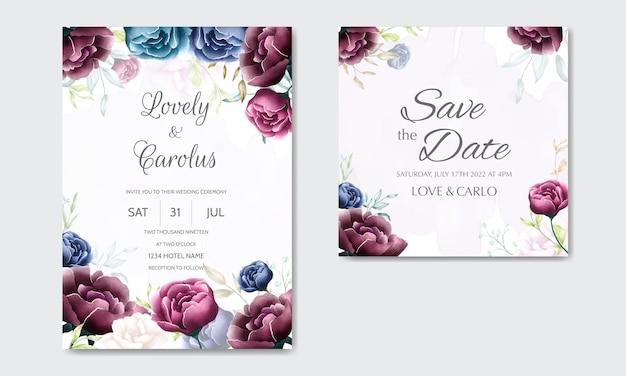 Hermosa plantilla de tarjeta de invitación de boda floral con borde de flores acuarela