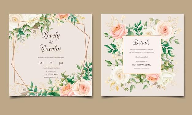 Hermosa plantilla de tarjeta de invitación de boda floral con decoración de hojas doradas
