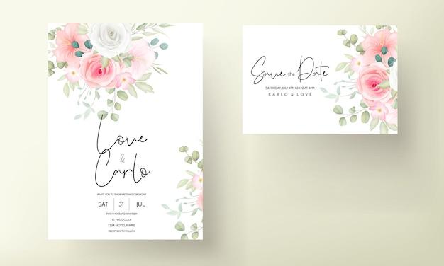 Hermosa plantilla de tarjeta de invitación de boda floral dibujada a mano