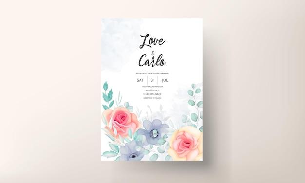 Hermosa plantilla de tarjeta de invitación de boda floral