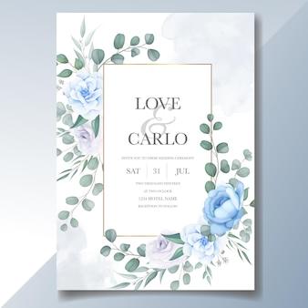Hermosa plantilla de tarjeta de invitación de boda de flores y hojas
