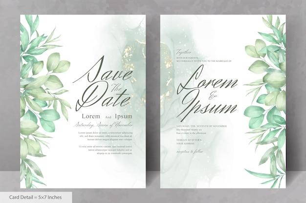 Hermosa plantilla de tarjeta de invitación de boda con follaje dibujado a mano en acuarela