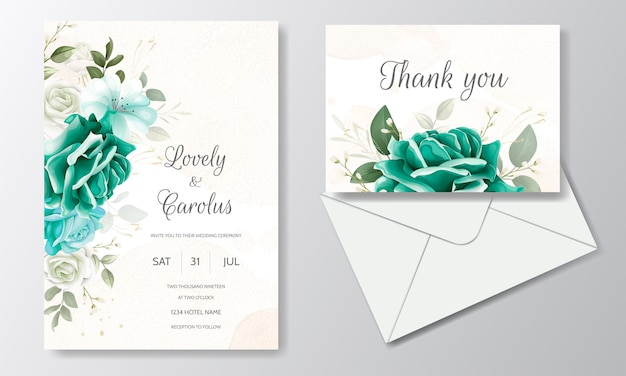 Hermosa plantilla de tarjeta de invitación de boda con hojas florales verdes y marco dorado