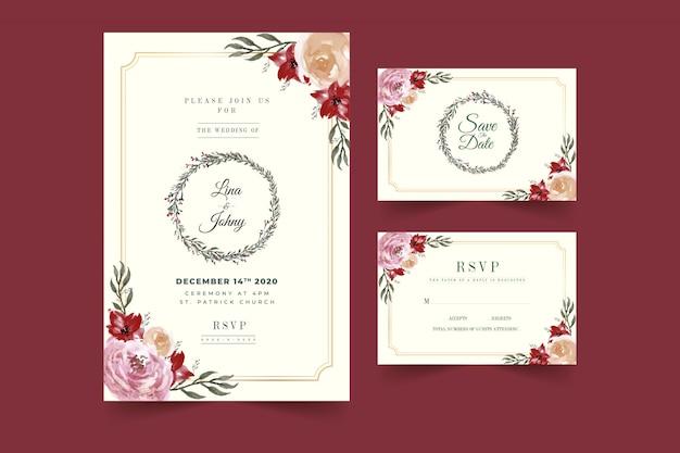 Hermosa plantilla de tarjeta de invitación de boda marco floral de borgoña