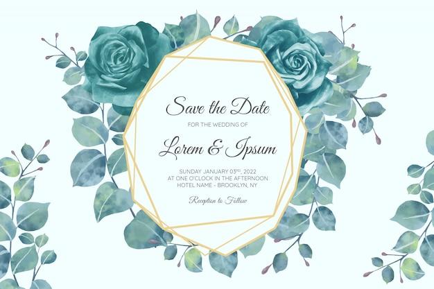 Hermosa plantilla de tarjeta de invitación de boda con marco floral geométrico