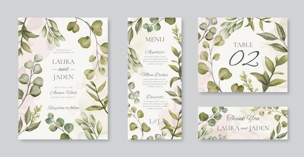 Hermosa plantilla de tarjeta de invitación de boda con marco floral set paquete pack colección