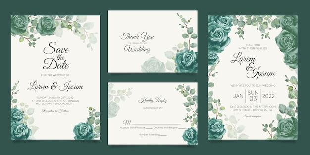 Hermosa plantilla de tarjeta de invitación de boda con marco floral