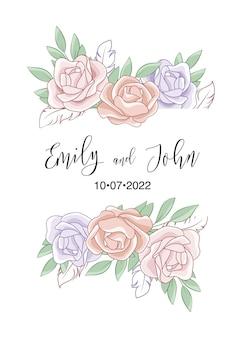 Hermosa plantilla de tarjeta de invitación de boda de rosas