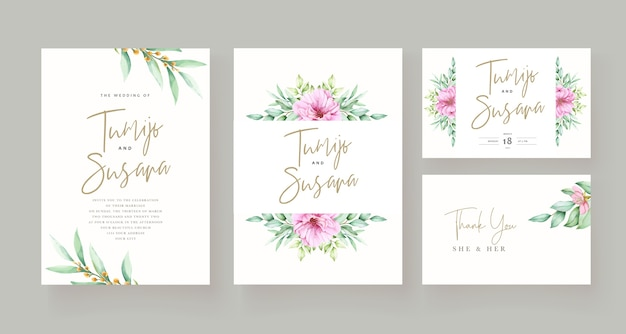 Hermosa plantilla de tarjeta de invitación floral