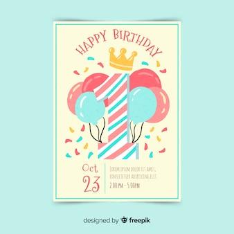 Hermosa plantilla de tarjeta del primer cumpleaños