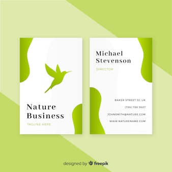 Hermosa plantilla de tarjeta de visita con concepto de naturaleza