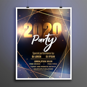 Hermosa plantilla de volante de cartel de fiesta de feliz año nuevo 2020