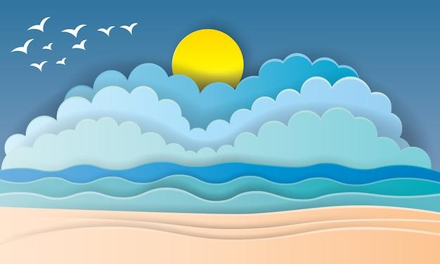 Hermosa playa estilo papel de arte con marco