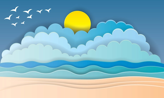 Hermosa playa en papel estilo art