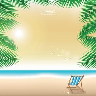 Hermosa playa de verano en el crepúsculo