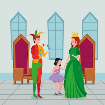 Hermosa princesa con bromista y hada en el castillo