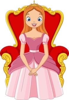 Hermosa princesa de dibujos animados sentada en el trono