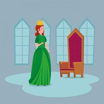 Hermosa princesa con silla en castillo
