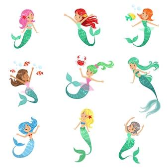 Hermosa princesa de sirena de cuento de hadas con cabello colorido y conjunto de ilustraciones de cola