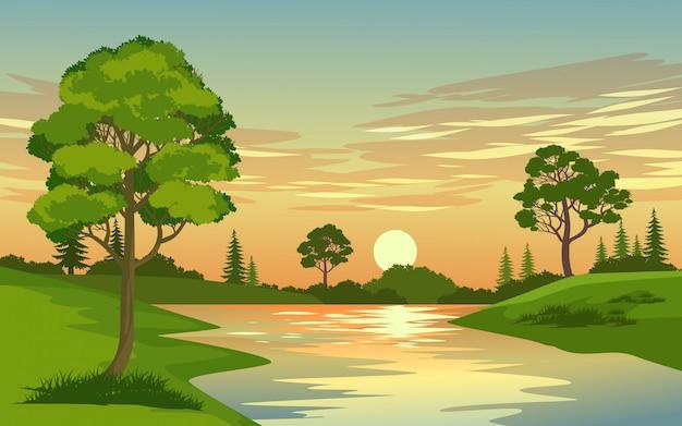 Hermosa puesta de sol en el bosque con río