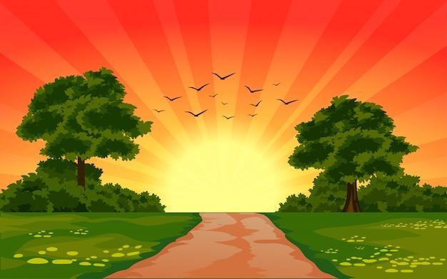 Hermosa puesta de sol en la naturaleza con rayos de sol