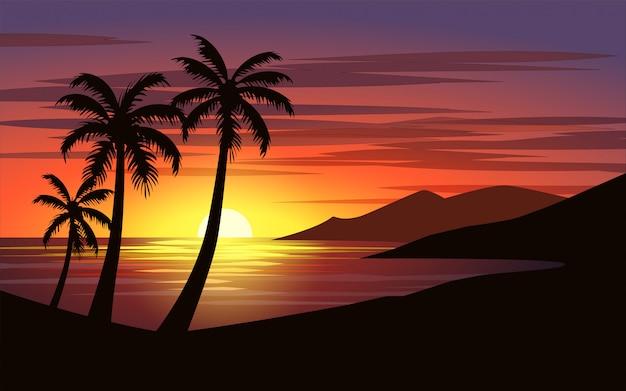 Hermosa puesta de sol en playa tropical