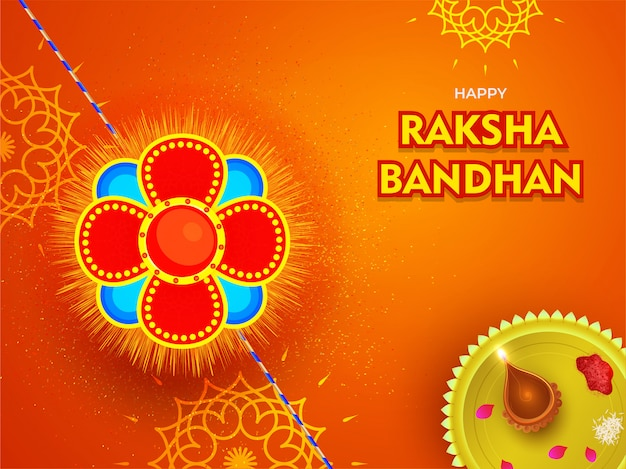 Hermosa rakhi (pulsera) con placa de adoración sobre fondo floral naranja para el festival happy raksha bandhan.