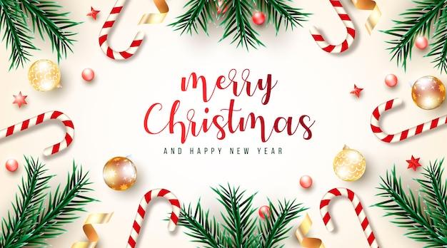 Hermosa y realista tarjeta de navidad con ramas verdes y diferentes elementos navideños.