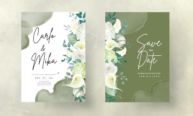 Hermosa rosa dibujada a mano y flor de lirio de cala tarjeta de invitación de boda