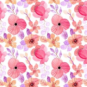 Hermosa rosa púrpura floral acuarela de patrones sin fisuras