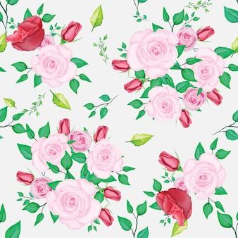 Hermosa rosa rosa patrón con acuarela