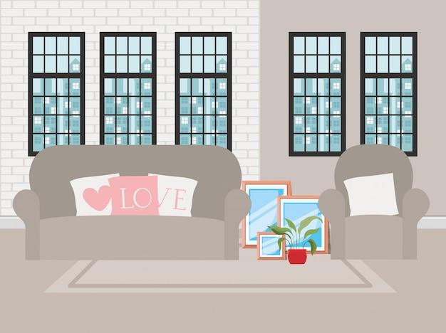 Hermosa sala de estar casa escena